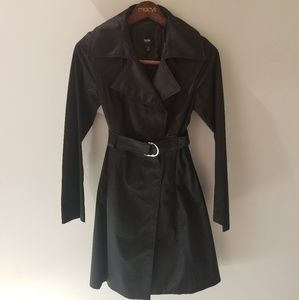 NWOT Mossimo Shiny Black Trench Coat (S)